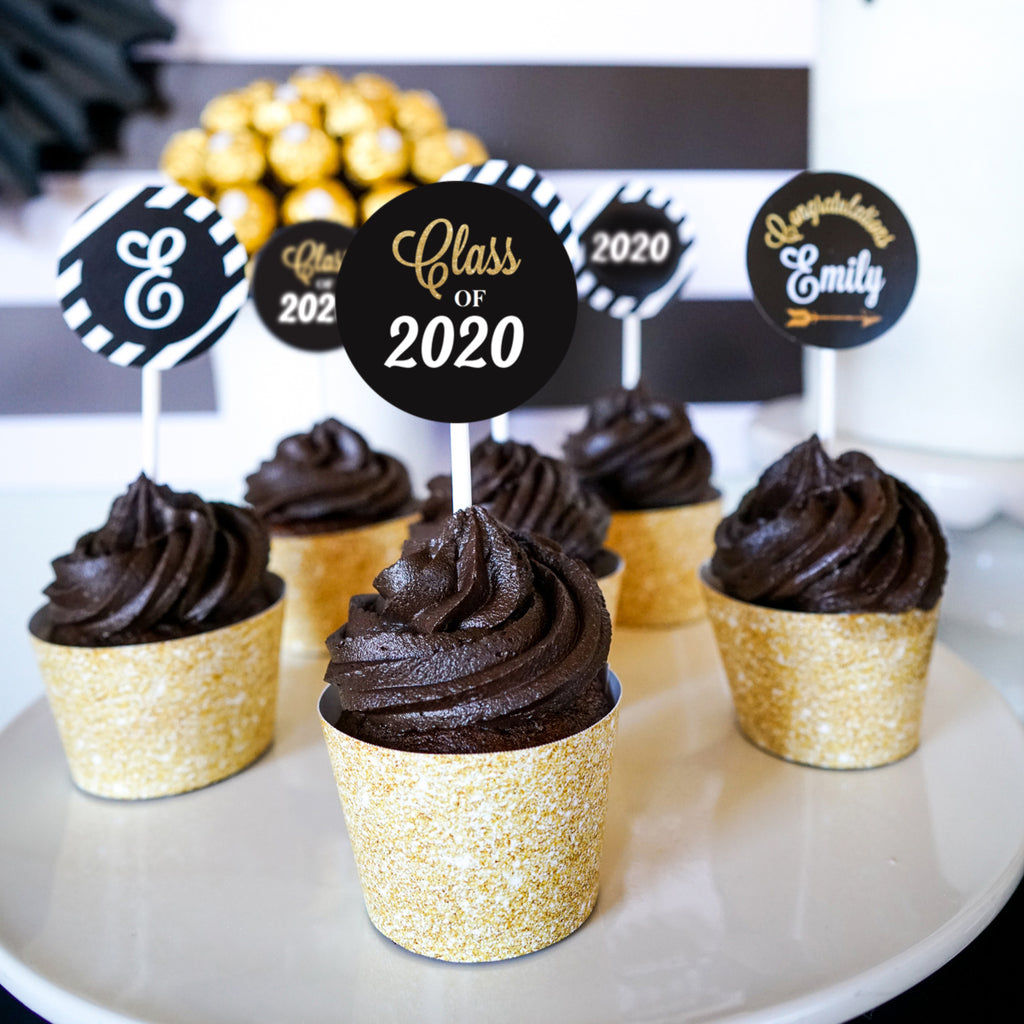 Graduation Cupcake Toppers and Wrappers - Black and Gold