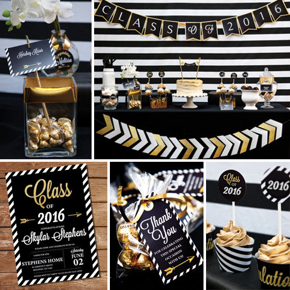 Black and Gold Graduation Party Set