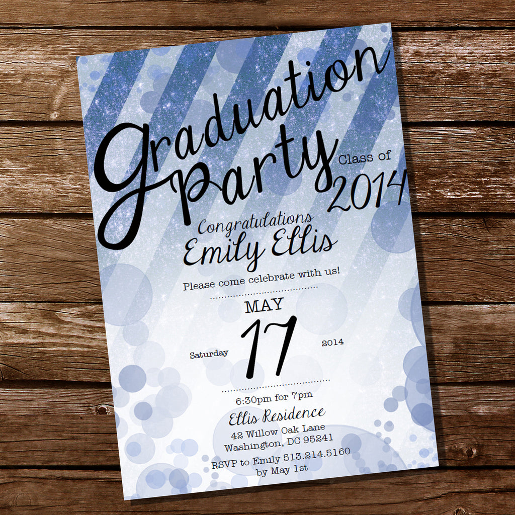 Blue Glitter Graduation Invitation