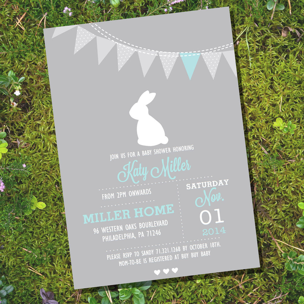 Gray Bunny Baby Shower Invitation | Unisex Baby Shower – Sunshine Parties