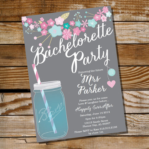 Gray Floral Bachelorette Party Invitation