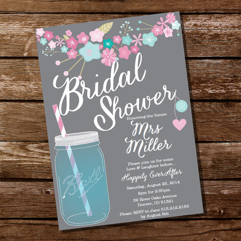 Gray Floral Bridal Shower Invitation