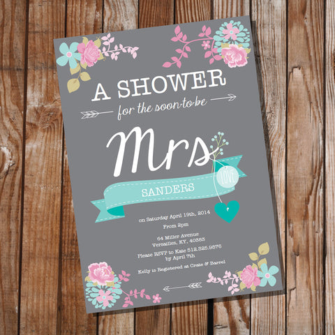 Shabby Chic Gray Floral Bridal Shower Invitation
