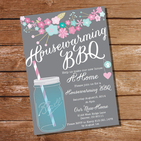 Gray Floral Housewarming BBQ Invitation