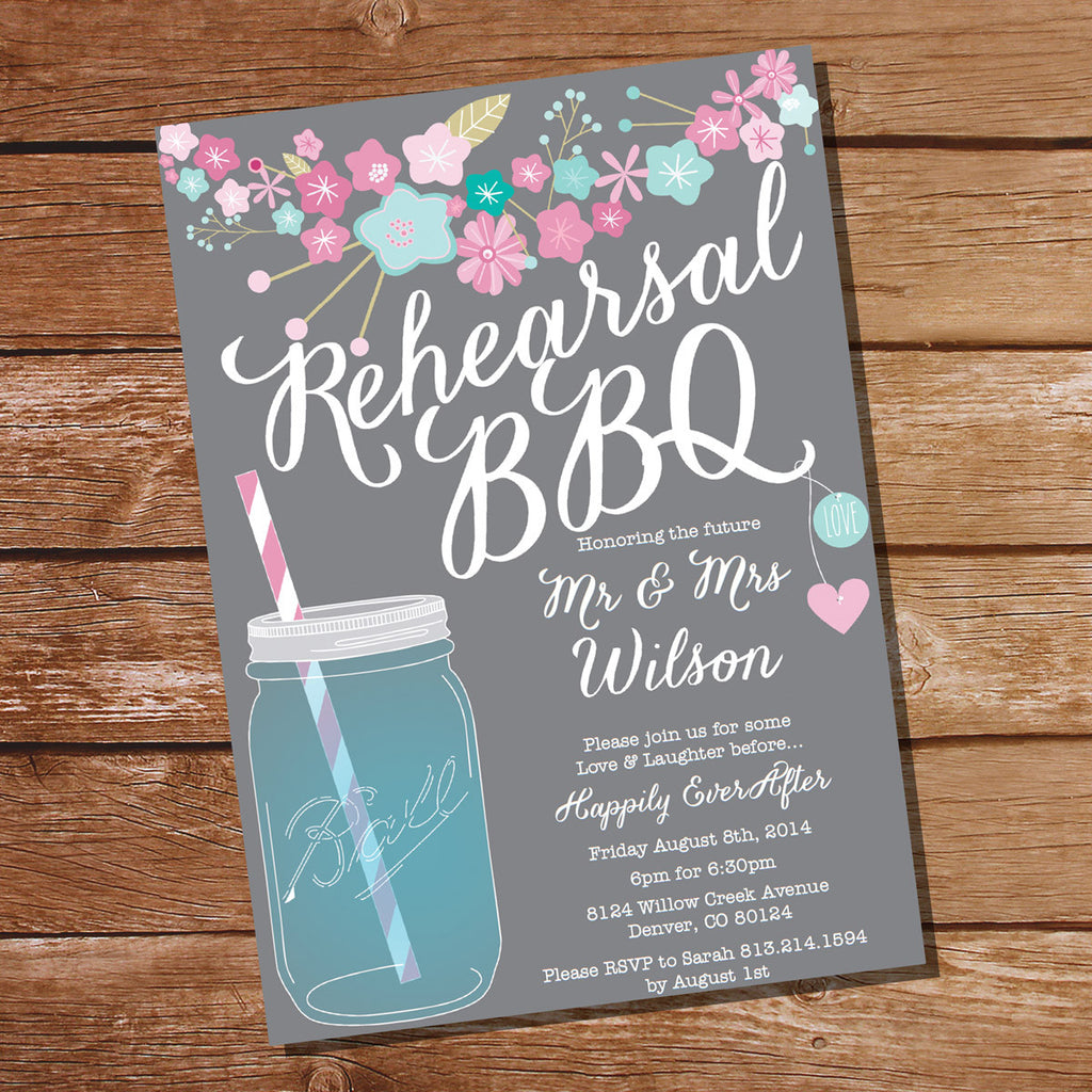 Floral Rehearsal BBQ Invitation | Gray Rehearsal Dinner Invitation