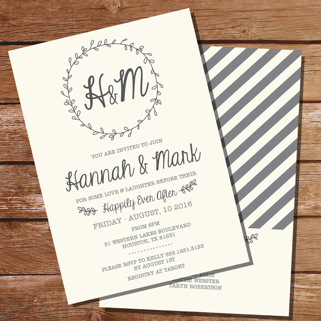 Wreath Rehearsal Dinner Invitation | Couples Shower Invite Template ...