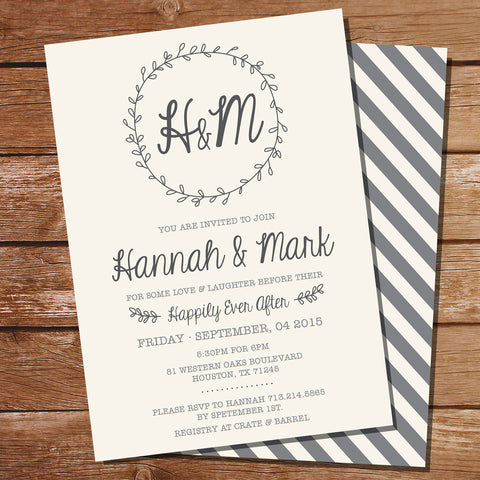 Wreath Rehearsal Dinner Invitation | Couples Shower Invitation