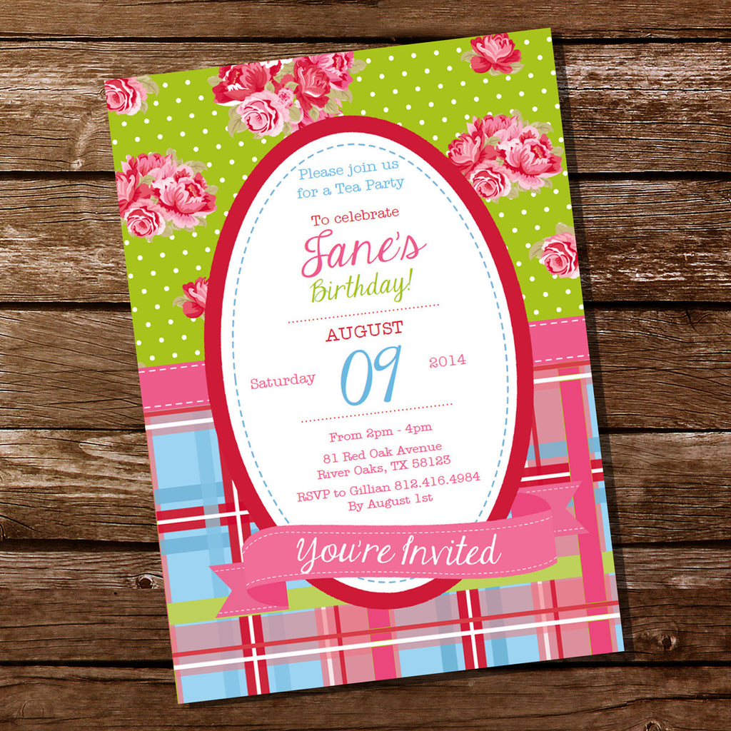 Bright Shabby Chic Birthday Party Invitation