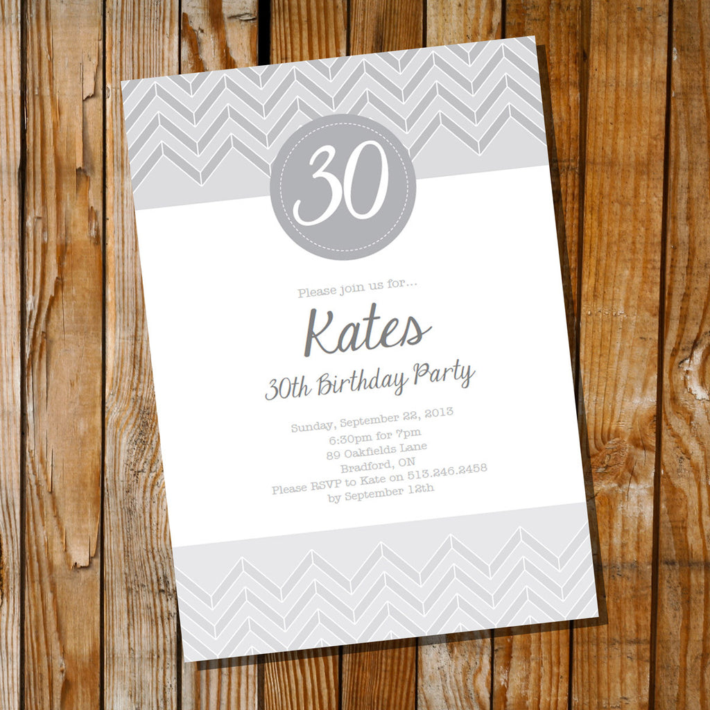 Gray Chevron Birthday Invitation