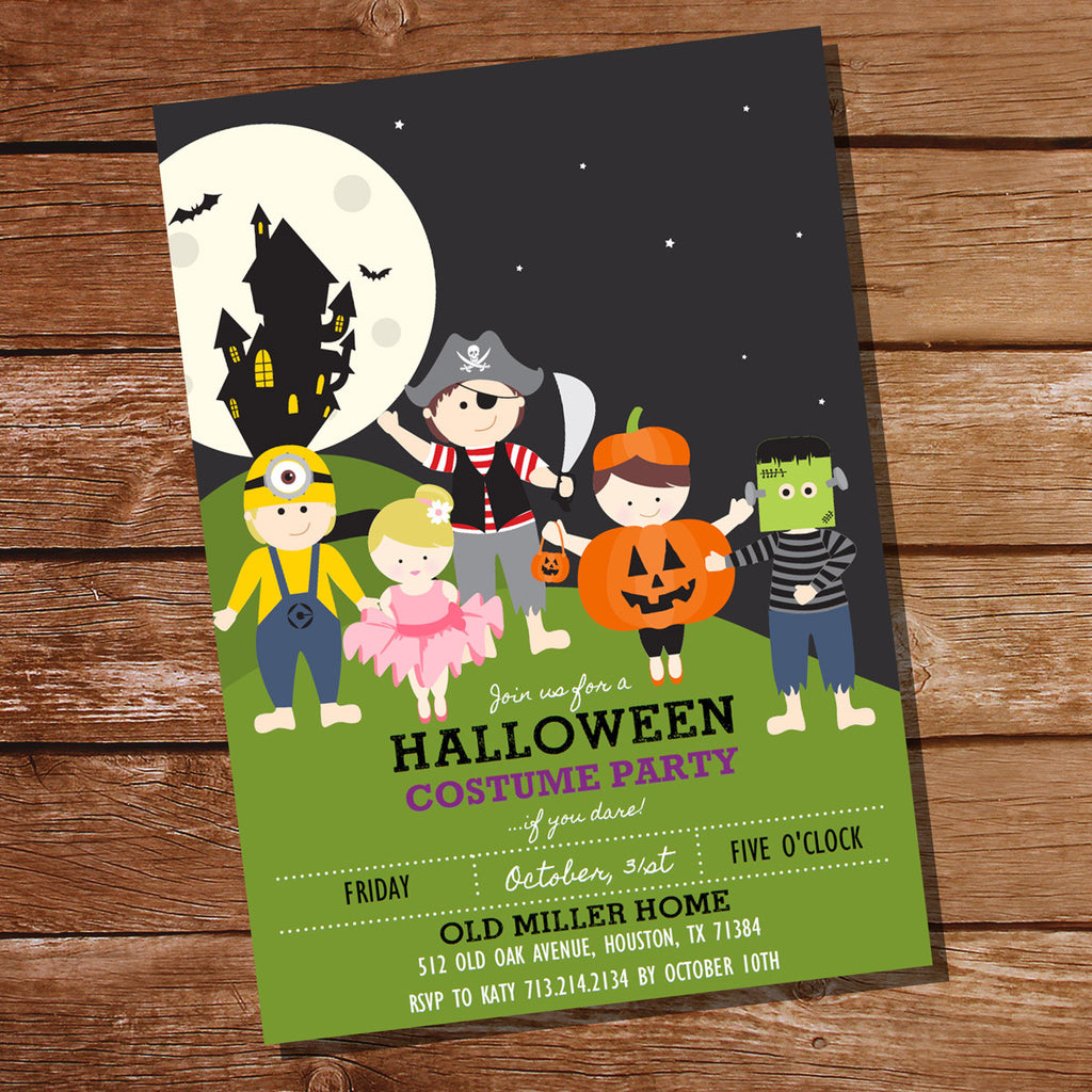 Halloween Costume Party Invitation | Kids Halloween Party Invitation