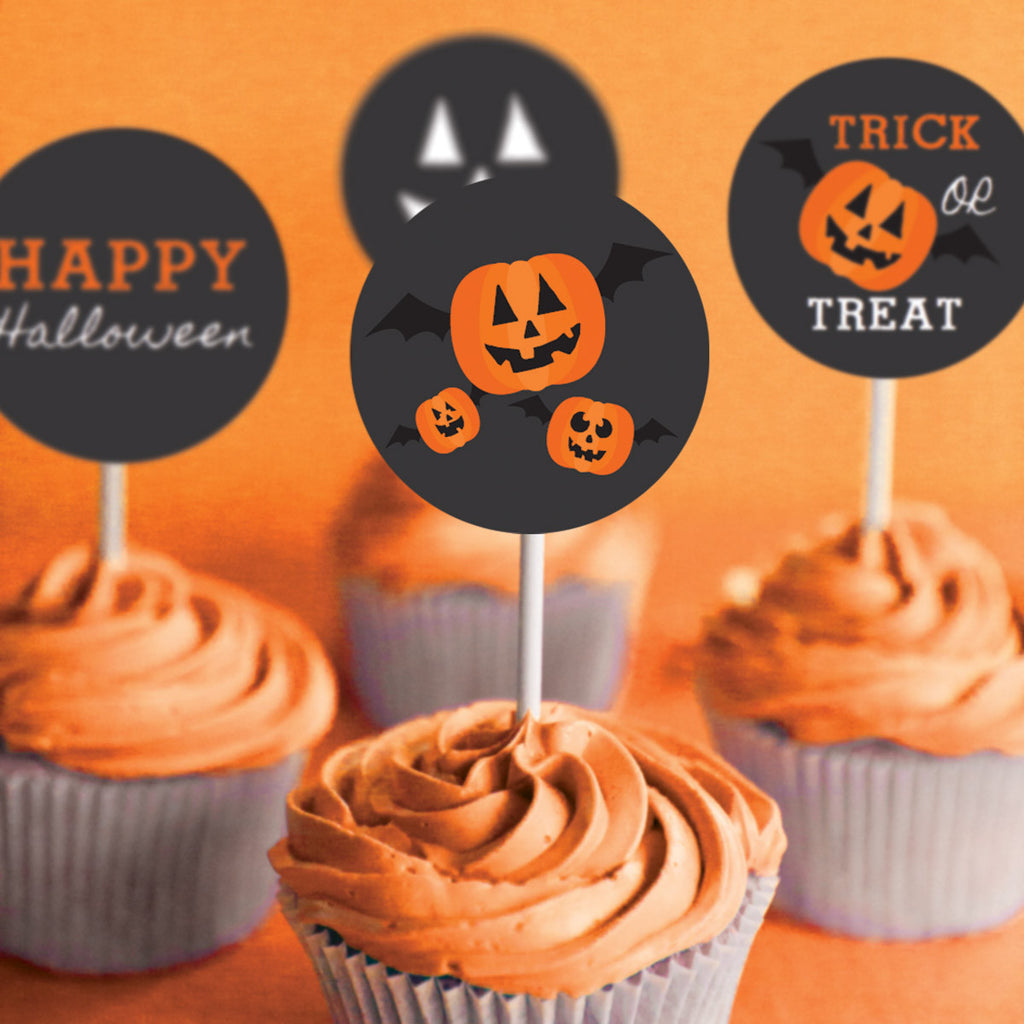 Halloween Pumpkin Party Cupcake Toppers | Pumpkin Carving Party Decor