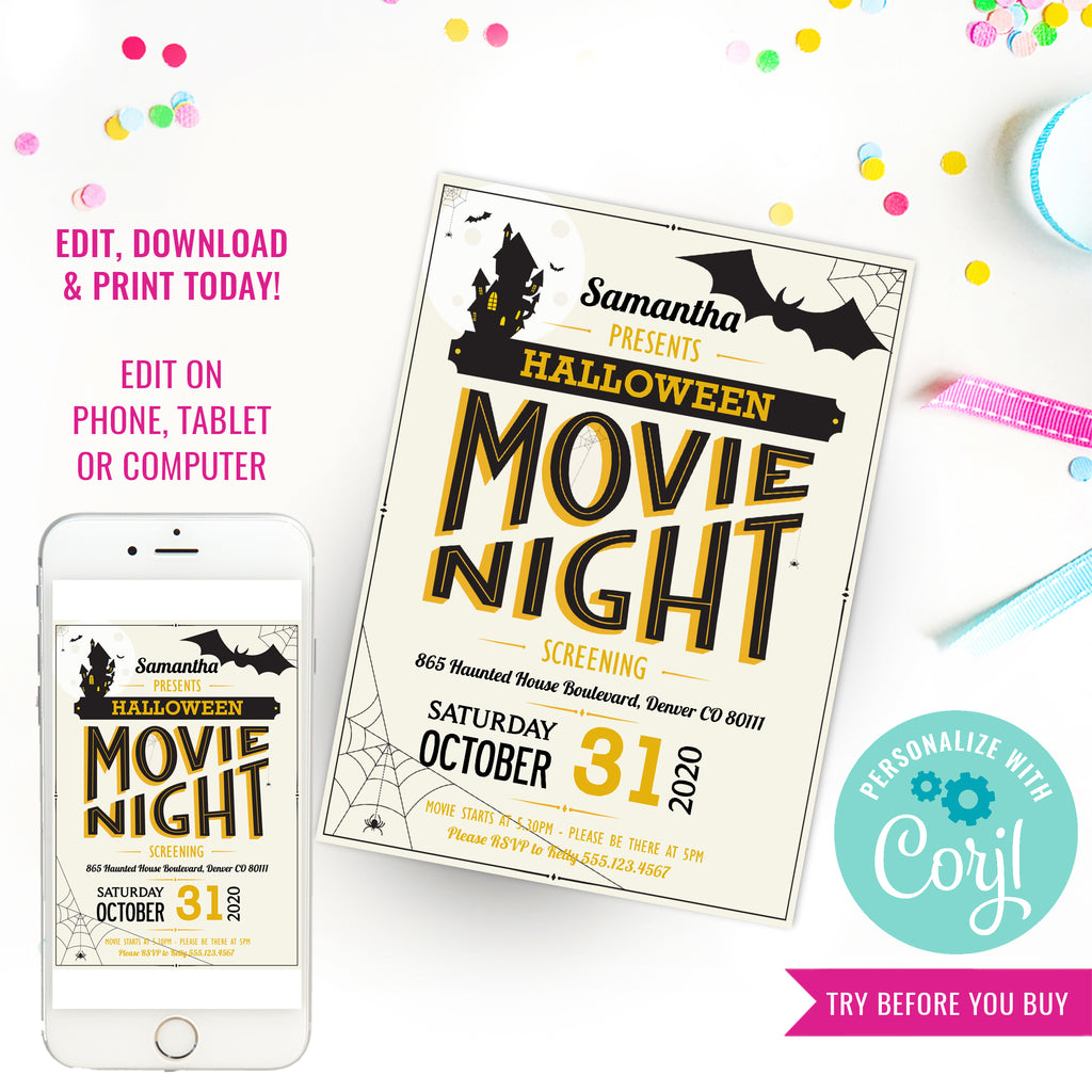 Halloween Movie Night Invitation