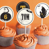 Halloween & Haunted House Cupcake Toppers with spooky designs