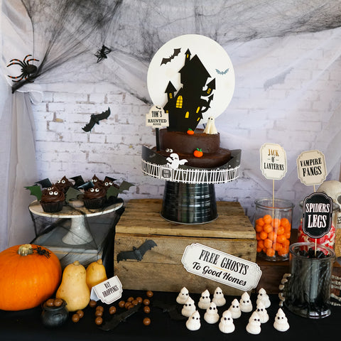 Halloween Party White Brick party Decor Backdrop