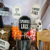 Halloween haunted House Food Labels, Spiders Legs and Vampire Fangs