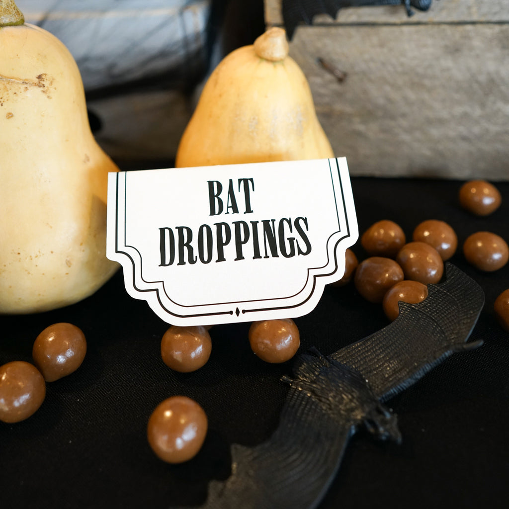 Haunted House Halloween Food Labels Bat Droppings
