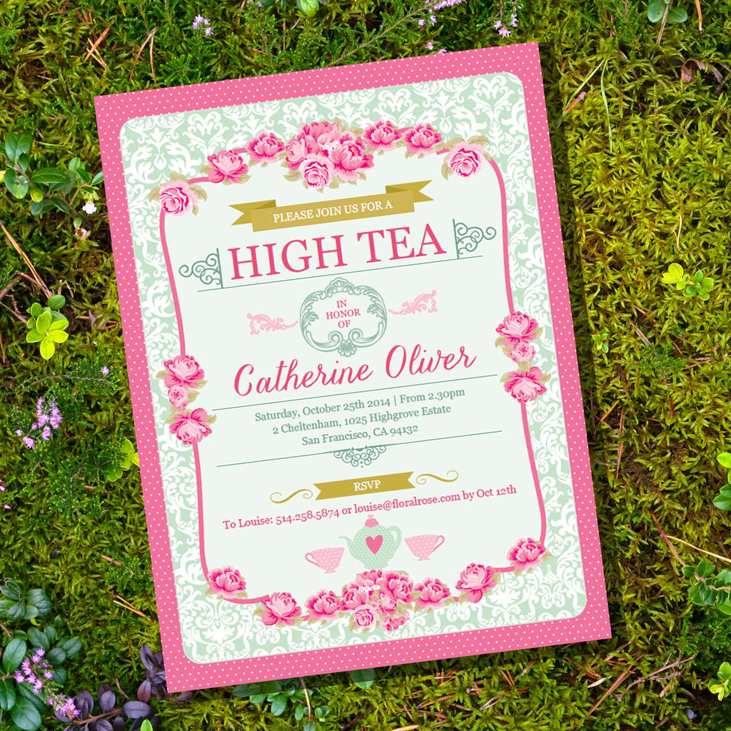 Floral high tea party invitation sunshine parties floral high tea party invitation monicamarmolfo Image collections