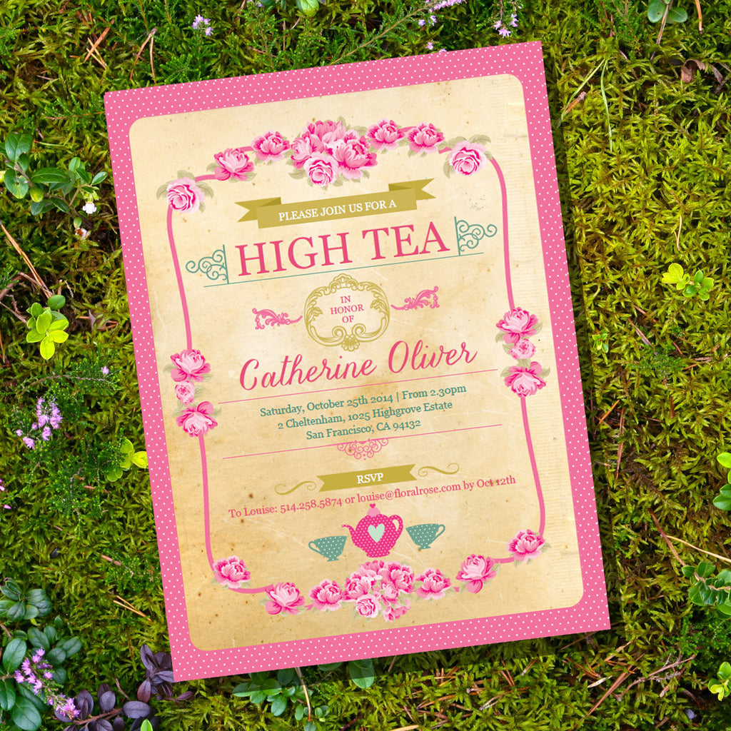 Old Paper and Polka Dots High Tea Party Invitation