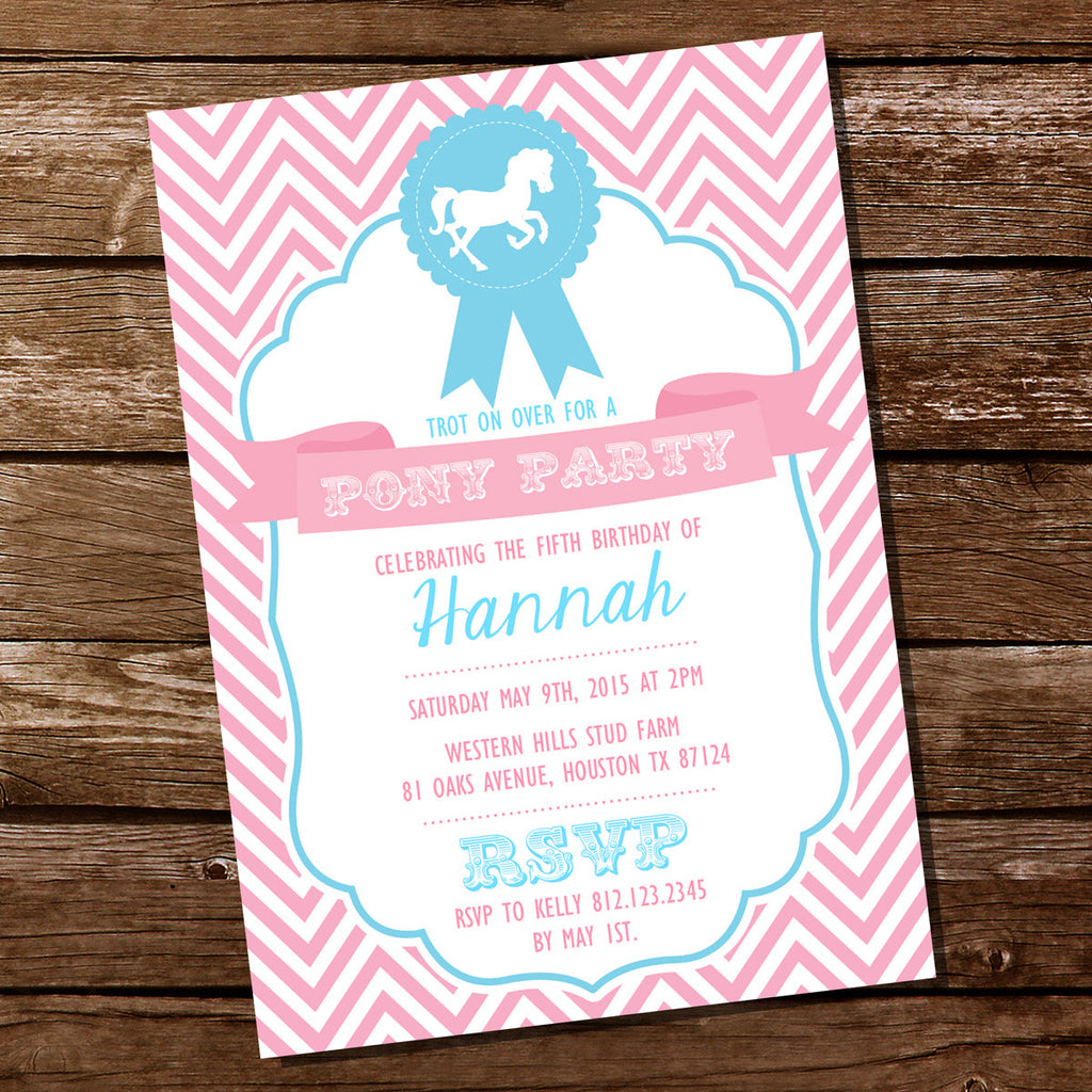 Horse Birthday Party Invitations For A Girl