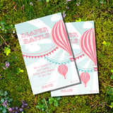 Hot Air Balloon Baby Shower Diaper Raffle Cards For A Girl