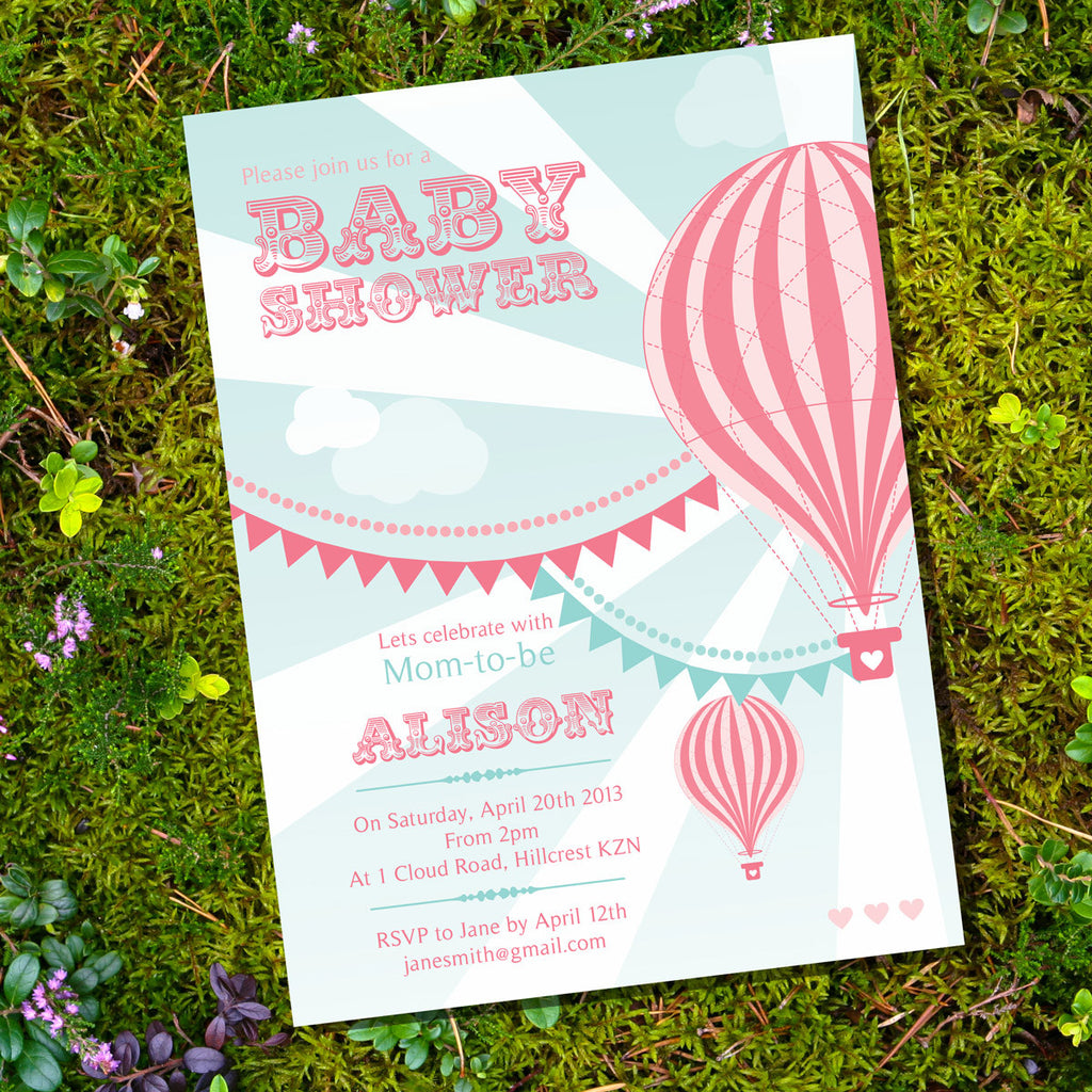 Hot Air Balloon Baby Shower Invitation For A Girl