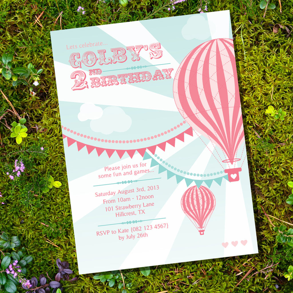 Hot Air Balloon Birthday Party Invitation For A Girl