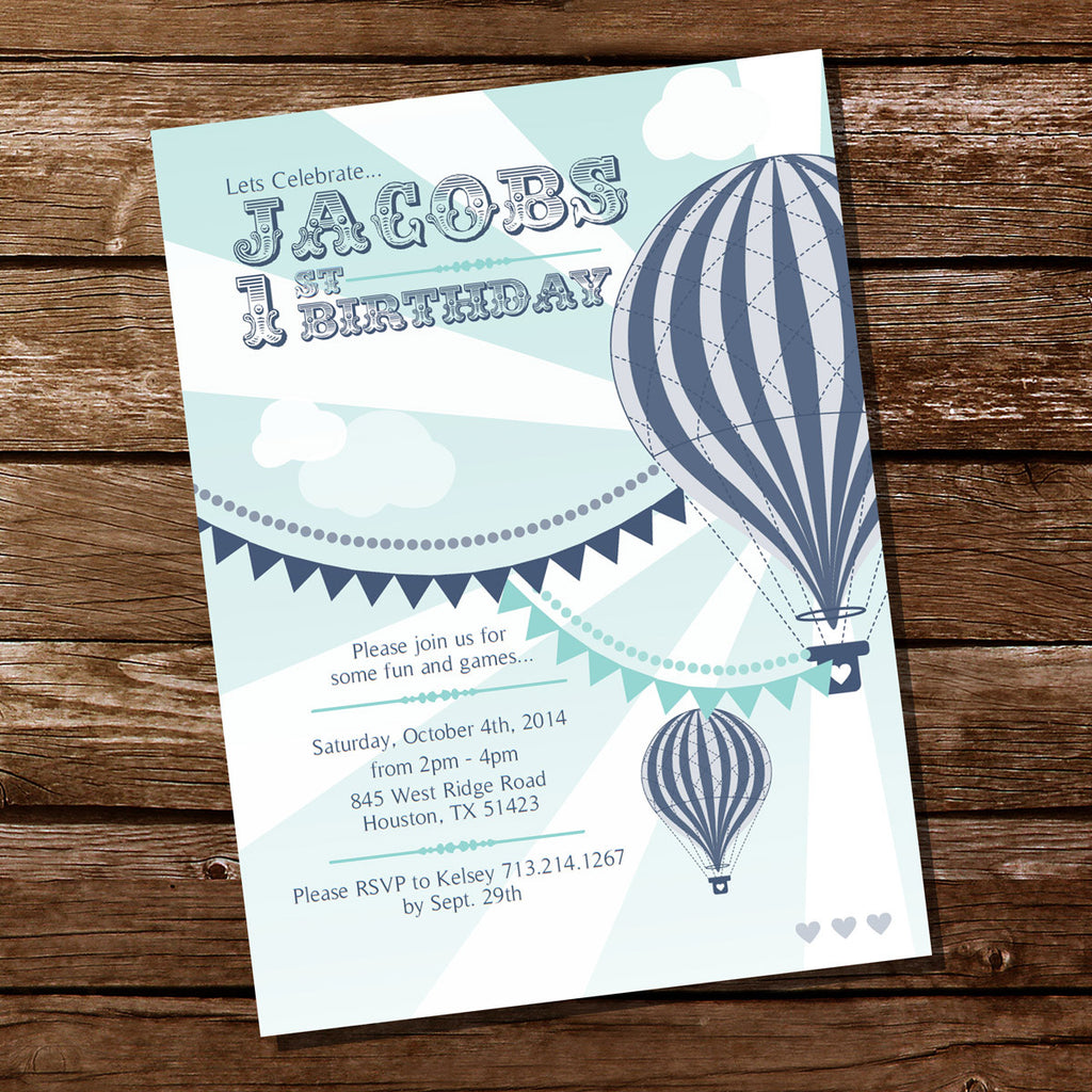 Hot Air Balloon Birthday Party Invitation For A Boy
