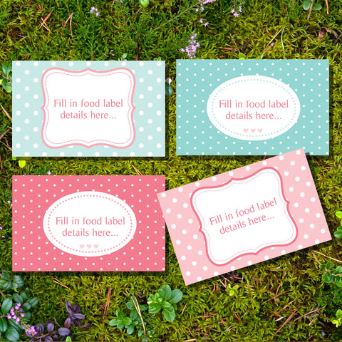 Hot Air Balloon Food Label Tent Cards For A Girl