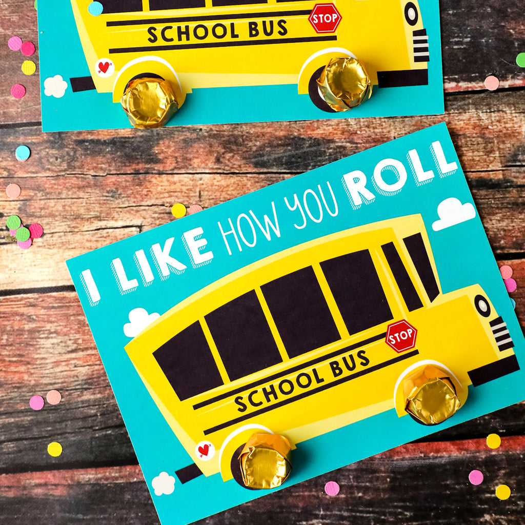 I Like How You Roll Kid's Valentine Card School Bus