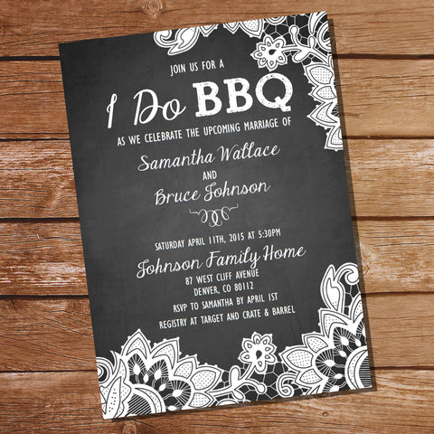 Shabby Chic Chalkboard I Do BBQ lnvitation