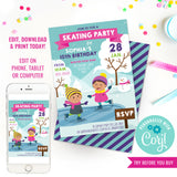 Ice Skating Party Invitation for Girls