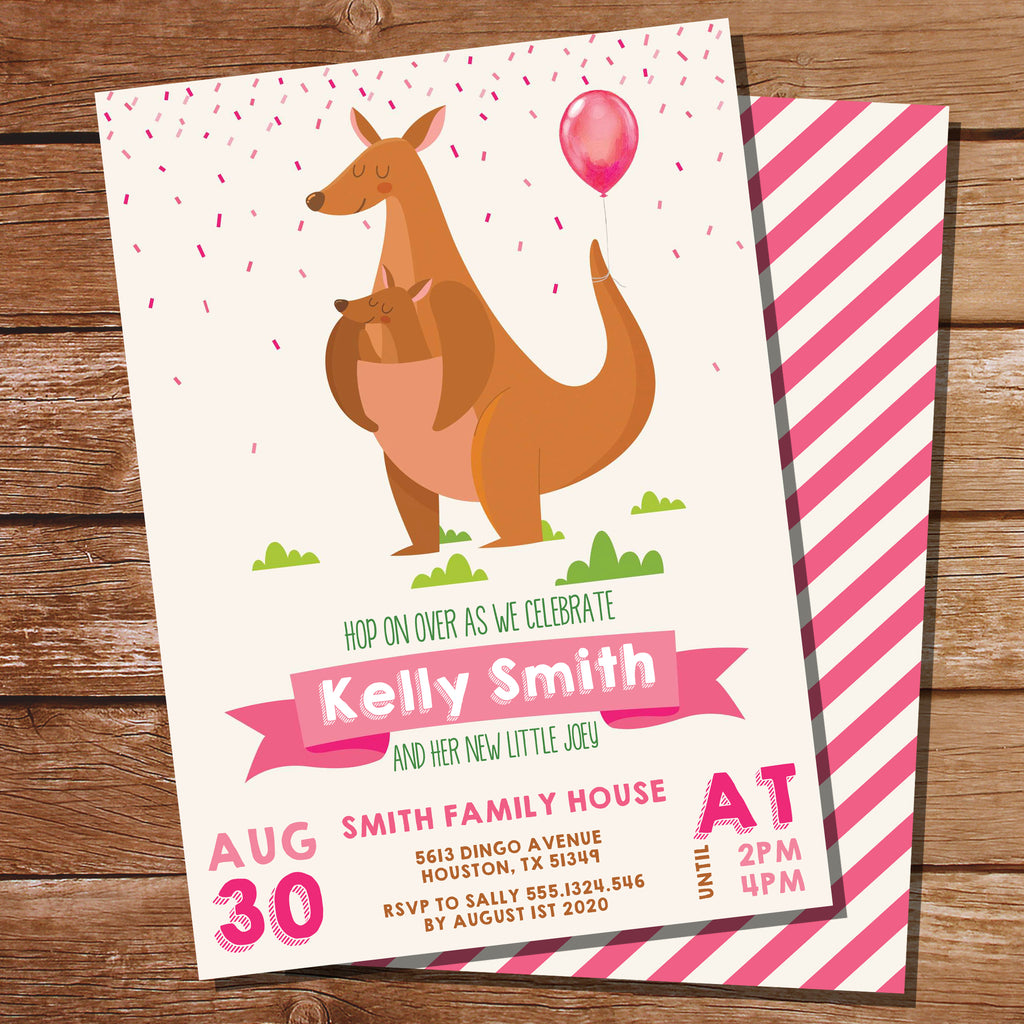Kangaroo Baby Shower Invitation
