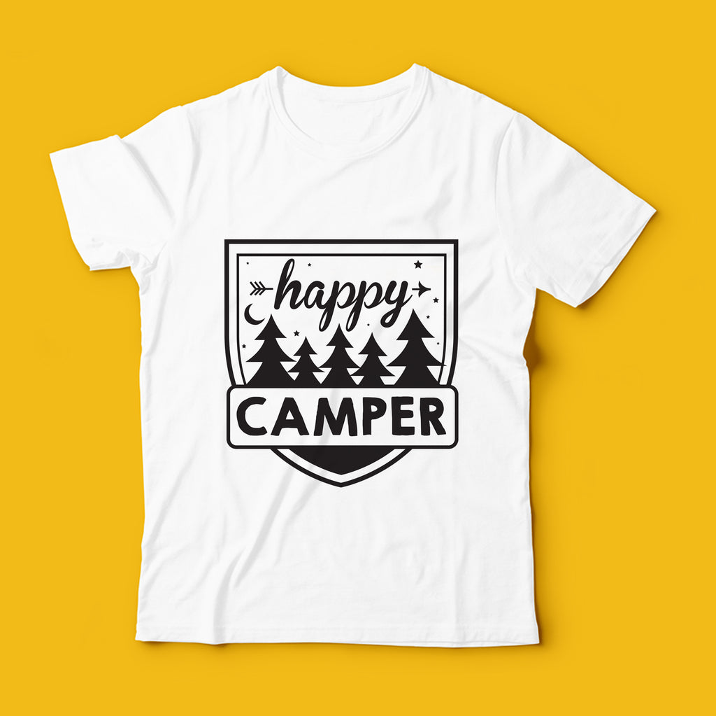 Happy Camper Template | SVG file | Use for t-shirts, mugs & tote bags
