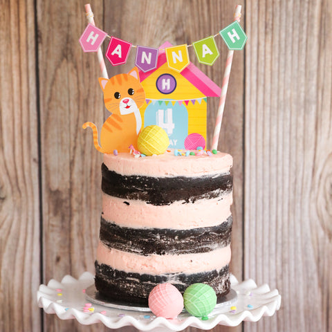 Cat Party Cake Topper - Kitty Cat Cake