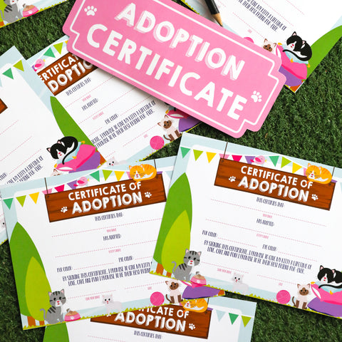 Kitty Cat Adoption Certificate