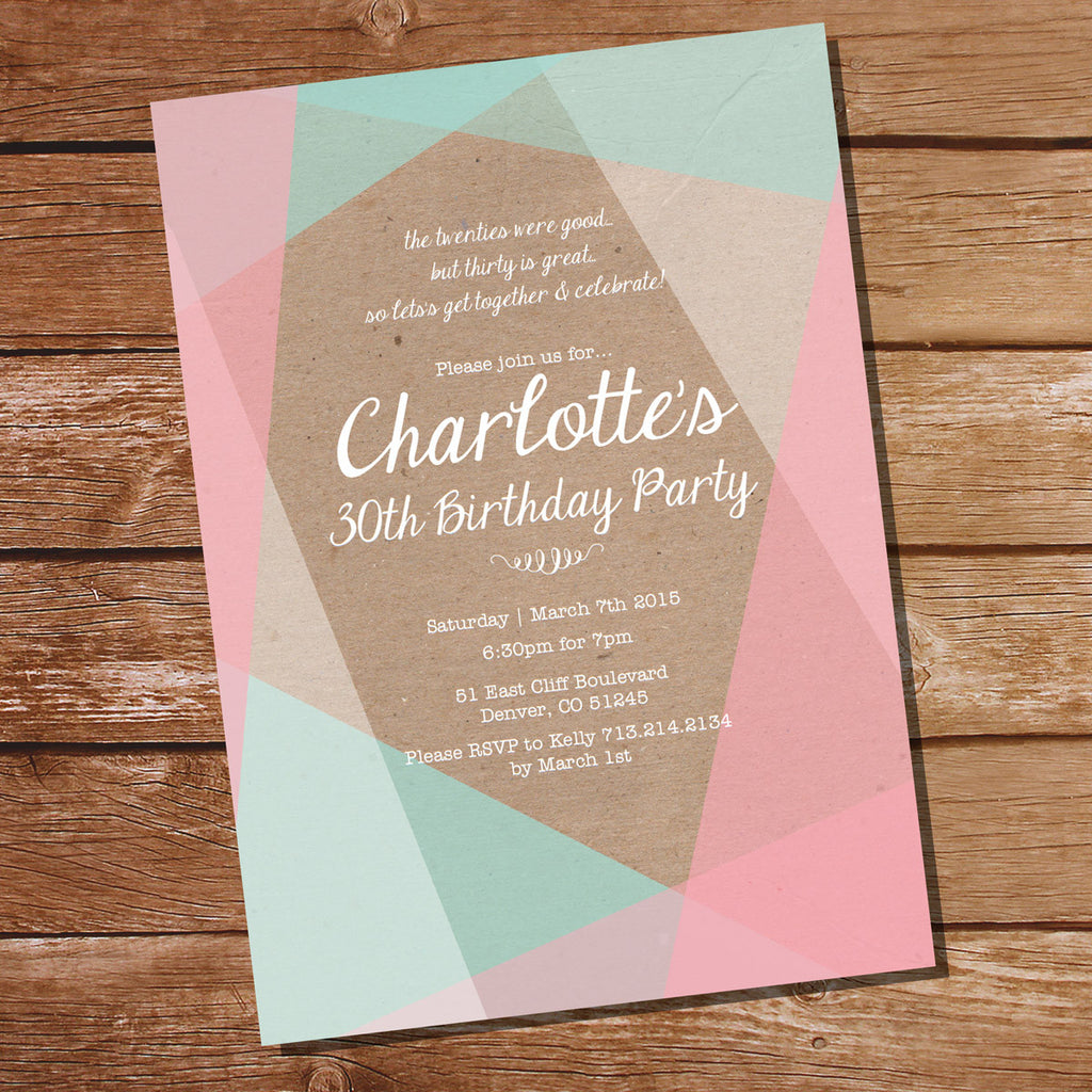 Kraft Geometric Birthday Invitation in Pastels