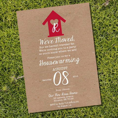 Kraft Shabby Chic Housewarming Invitation