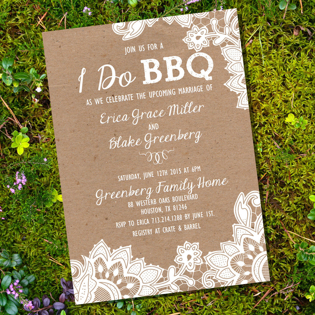 Kraft Shabby Chic I Do BBQ lnvitation