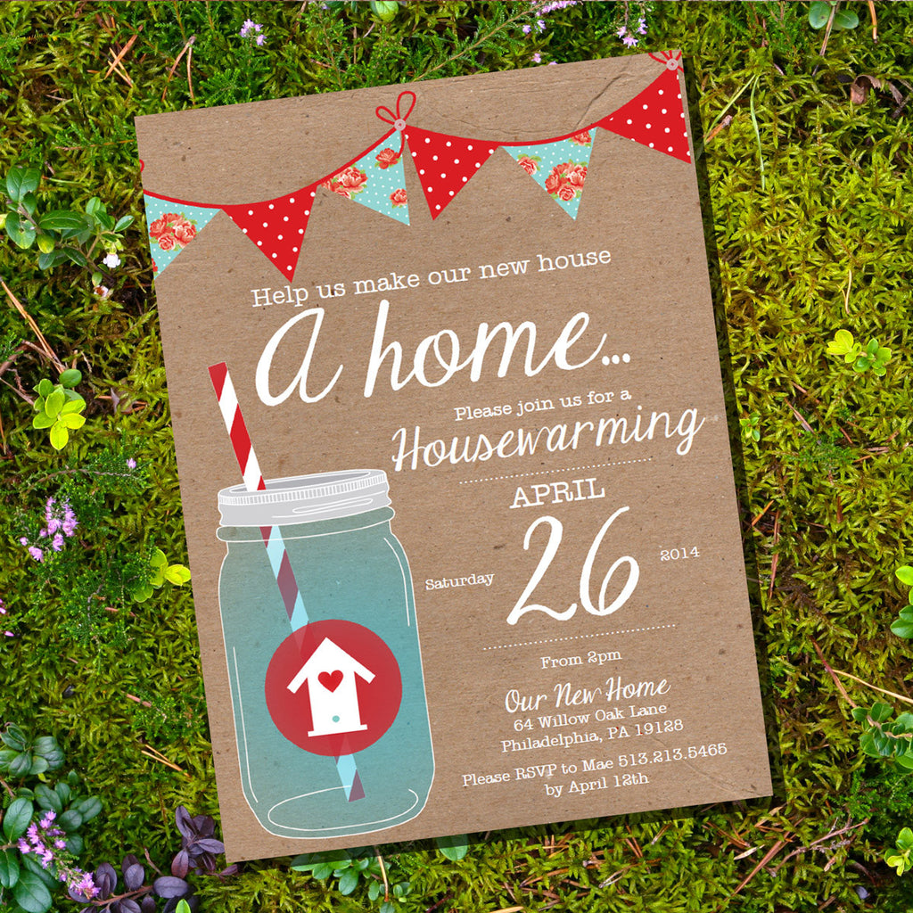 Shabby Chic Red and Blue Housewarming Invitation