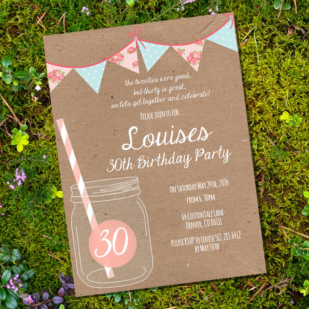 Shabby Chic Mason Jar Birthday Invitation