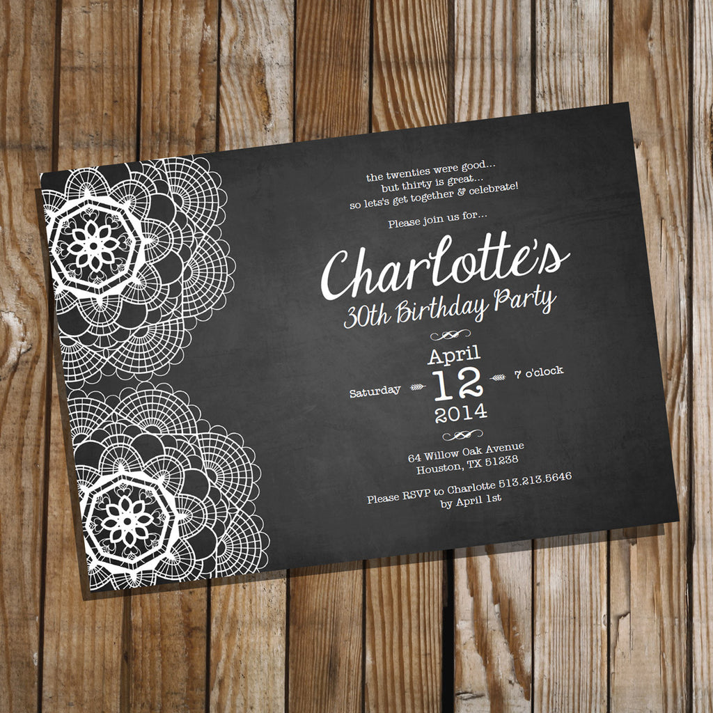 Lace Chalkboard Birthday Invitation