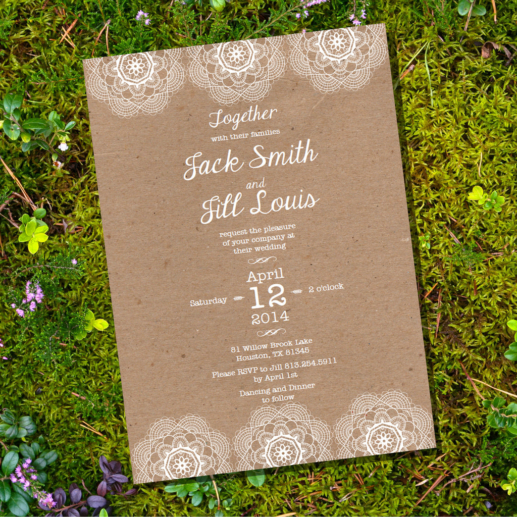 Lace Kraft Wedding Invitation