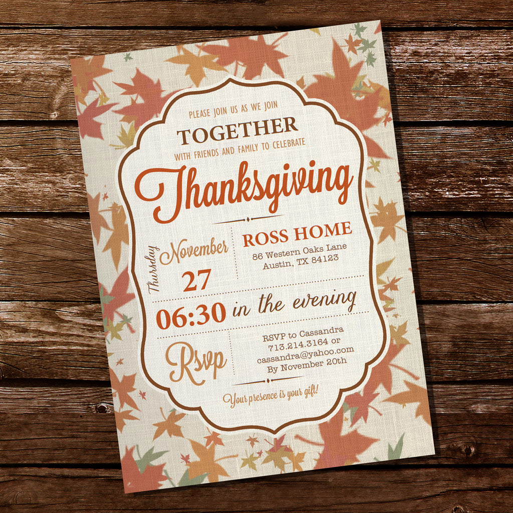Thanksgiving Invitation | Linen Invitation