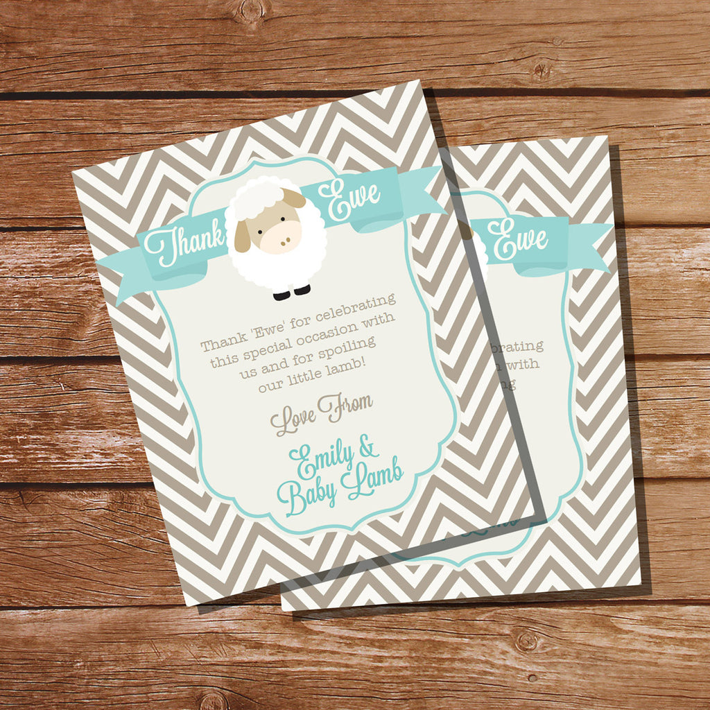 Little Lamb Baby Shower Thank-Ewe Card