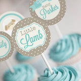Little Lamb Baby Shower Cupcake Toppers