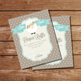 Little Lamb Baby Shower Diaper Raffle Insert Card