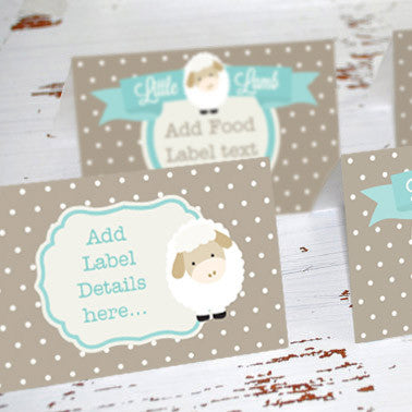 Little Lamb Baby Shower Food Label Tent Cards | Unisex Shower