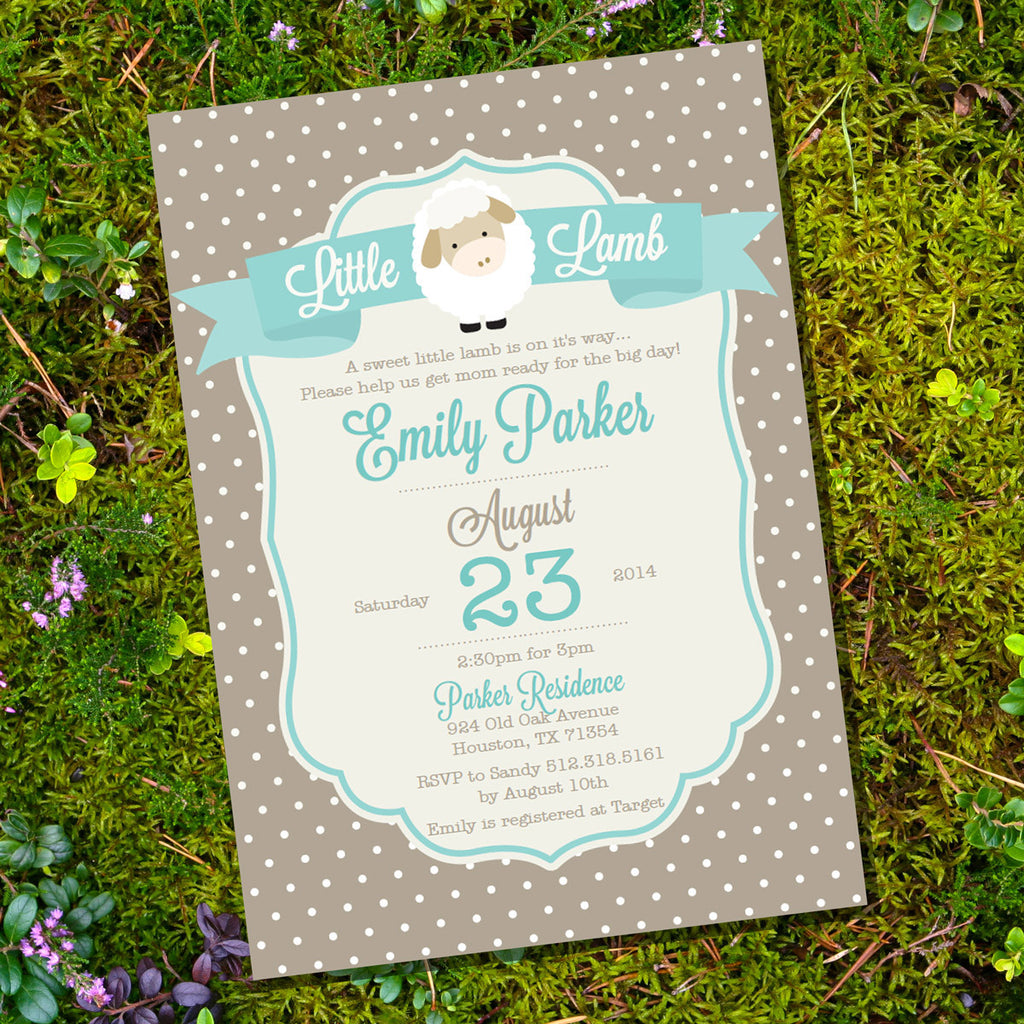 Little lamb baby shower invitation for a boy or girl unisex shower how it works filmwisefo
