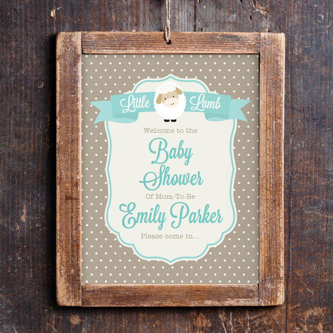 Little Lamb Baby Shower Door Sign