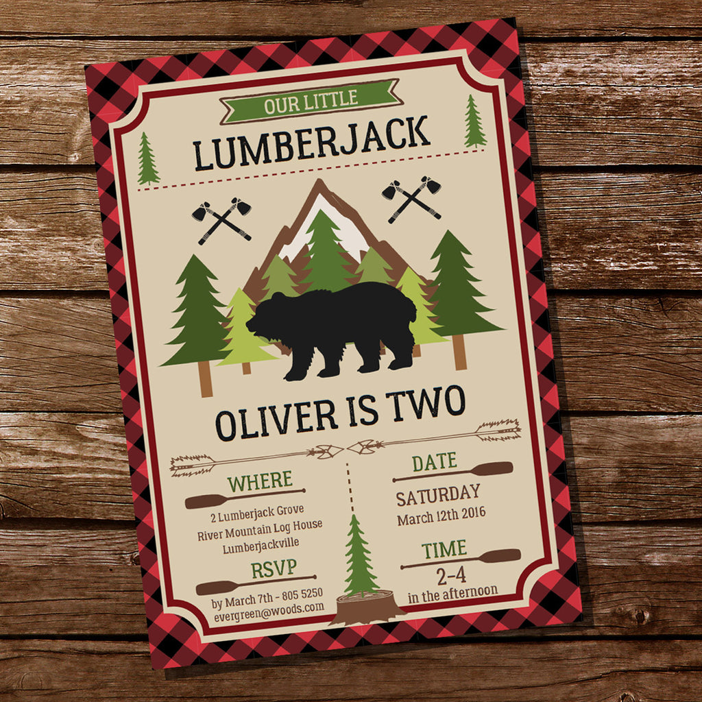 Little Lumberjack Party Invitation | Wilderness Forest Party